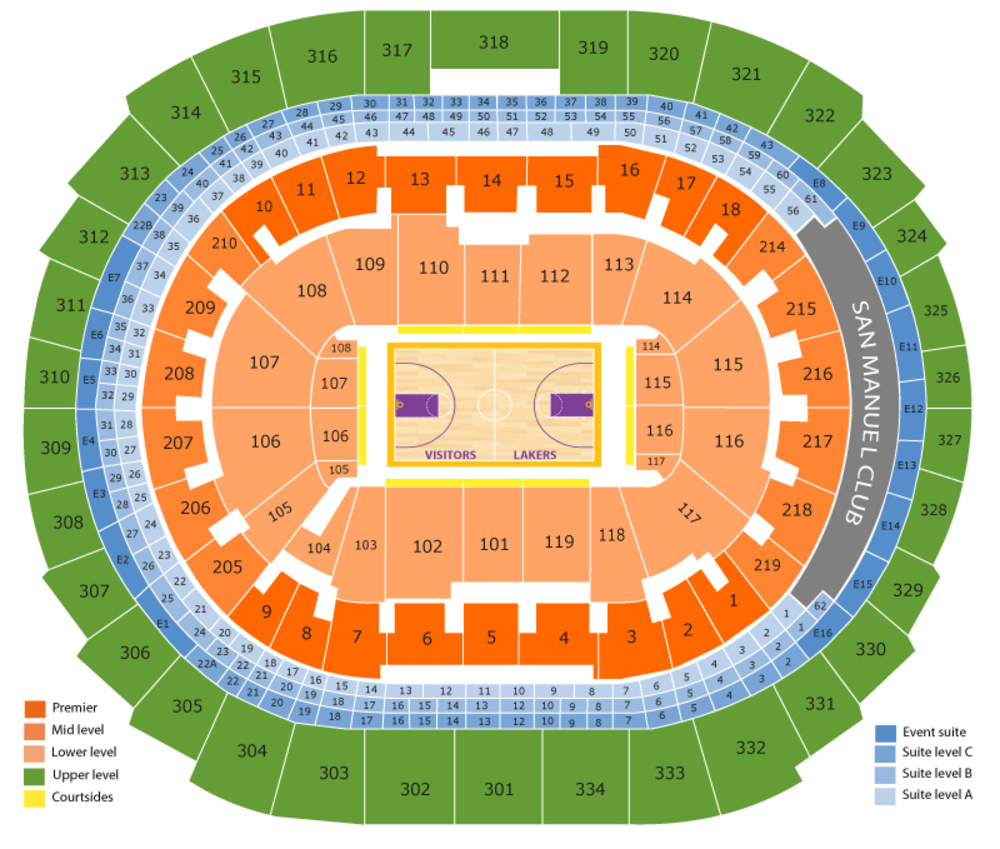 Philadelphia 76ers at Los Angeles Lakers Venue Map