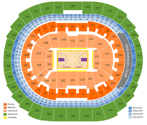 Milwaukee Bucks at Los Angeles Lakers Venue Map