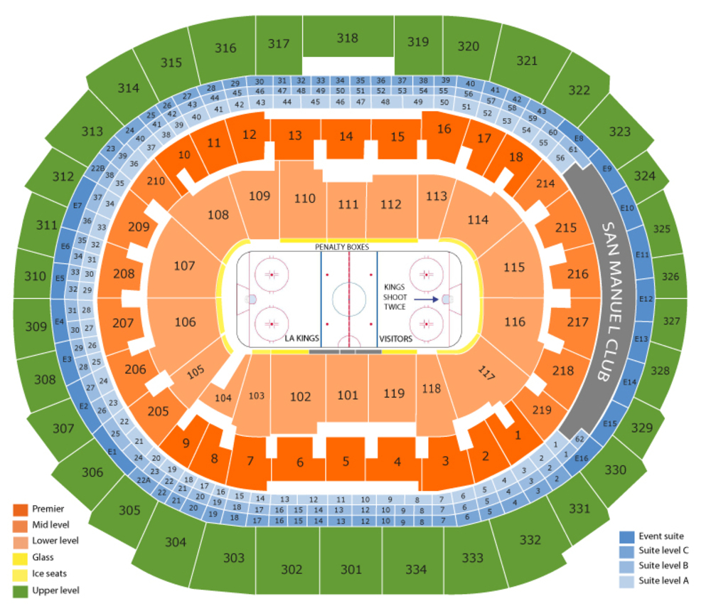 Nashville Predators at Los Angeles Kings Venue Map