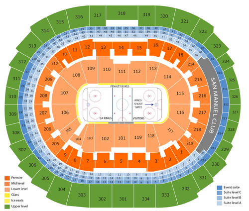 Vancouver Canucks at Los Angeles Kings Venue Map