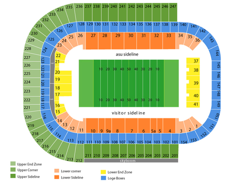 Arizona Wildcats at Arizona State Sun Devils Football Venue Map
