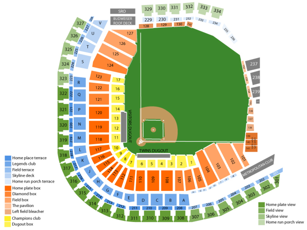 Detroit Tigers at Minnesota Twins Venue Map
