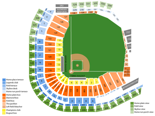 Oakland Athletics at Minnesota Twins Venue Map