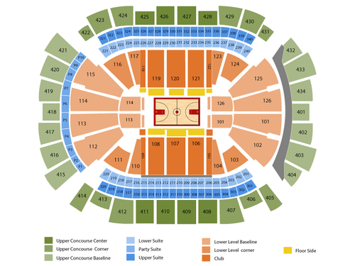 Indiana Pacers at Houston Rockets Venue Map