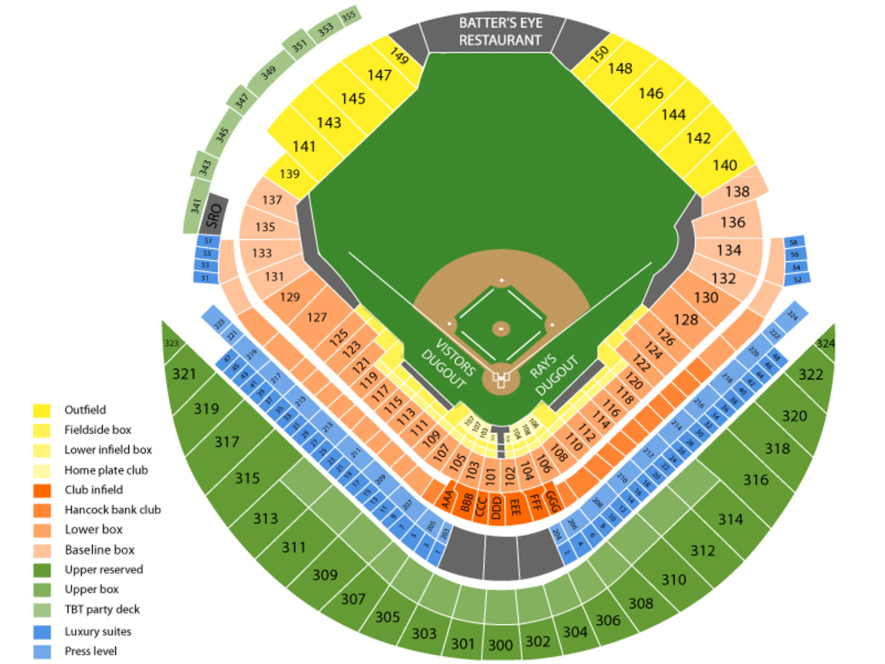 Texas Rangers at Tampa Bay Rays Venue Map