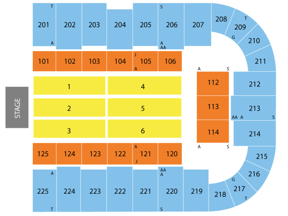 Seating Chart for End Stage Seating Chart at Tucson Arena