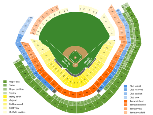 Milwaukee Brewers at Atlanta Braves Venue Map