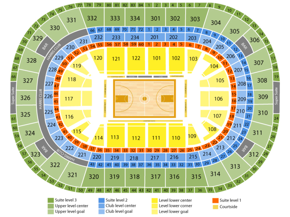 Philadelphia 76ers at Chicago Bulls Venue Map