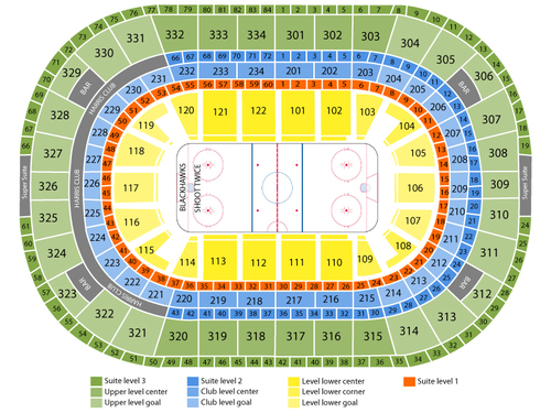 Columbus Blue Jackets at Chicago Blackhawks Venue Map