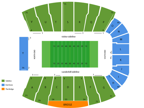 Missouri Tigers at Vanderbilt Commodores Football Venue Map