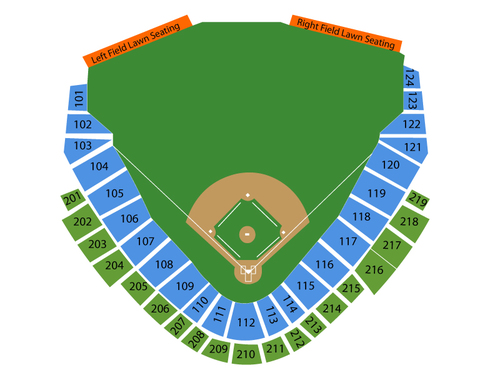 Toledo Mud Hens at Indianapolis Indians Venue Map