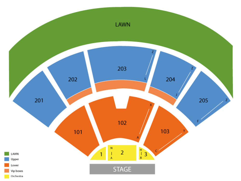 Seating Chart for End Stage Seating Chart at Farm Bureau Live at Virginia Beach