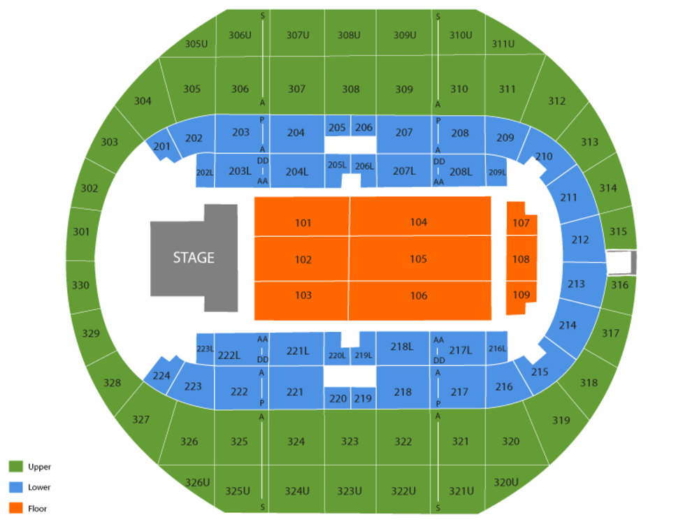 Seating Chart for End Stage Seating Chart at Von Braun Center Arena