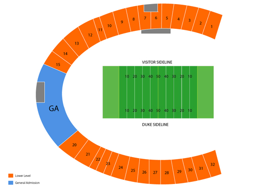 North Carolina Central Eagles at Duke Blue Devils Football Venue Map