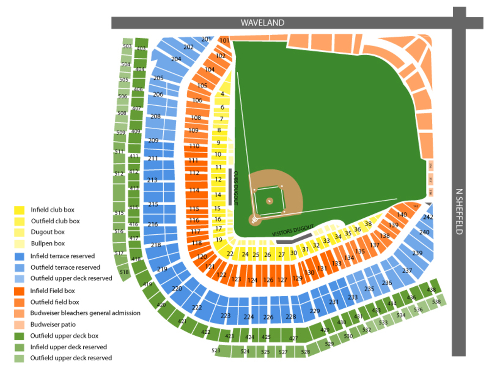 Pittsburgh Pirates at Chicago Cubs Venue Map