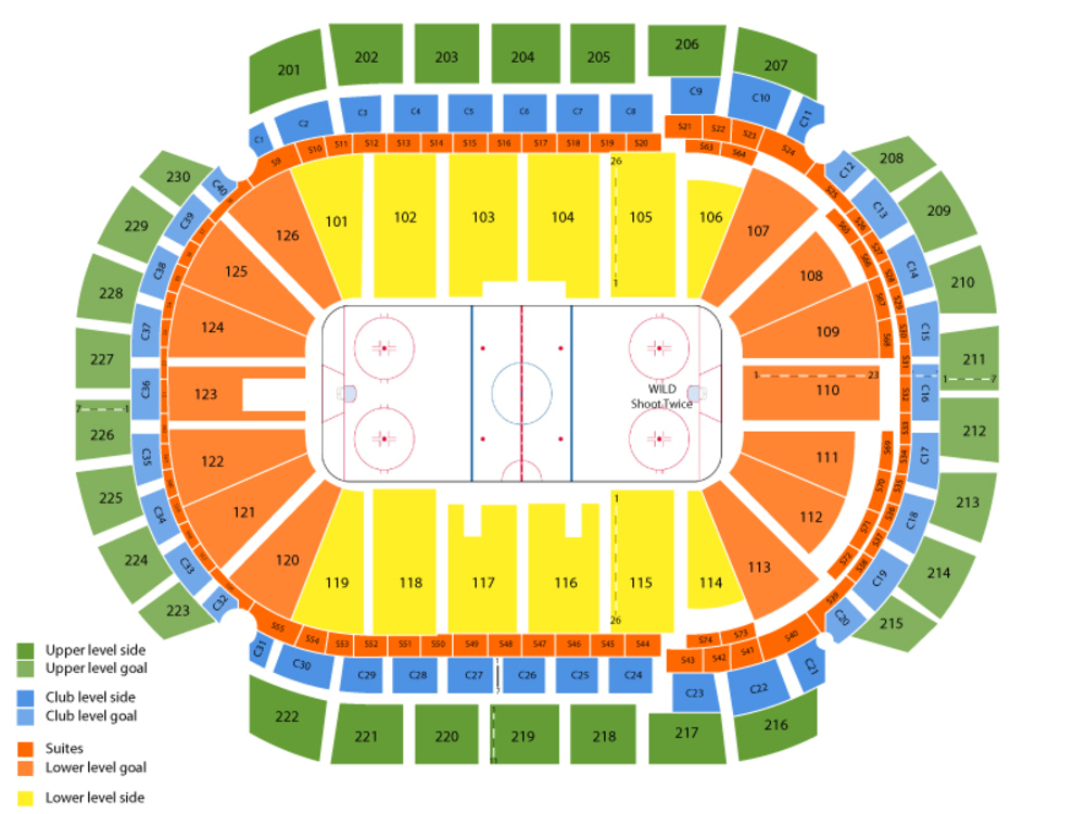 Toronto Maple Leafs at Minnesota Wild Venue Map