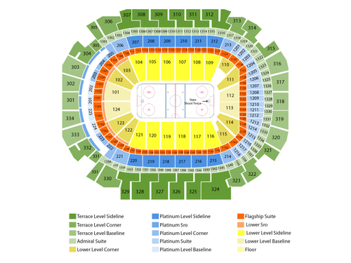 Columbus Blue Jackets at Dallas Stars (Reduced Capacity, Social Distancing) Venue Map