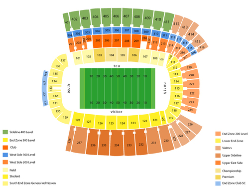 Texas Longhorns at TCU Horned Frogs Football Venue Map