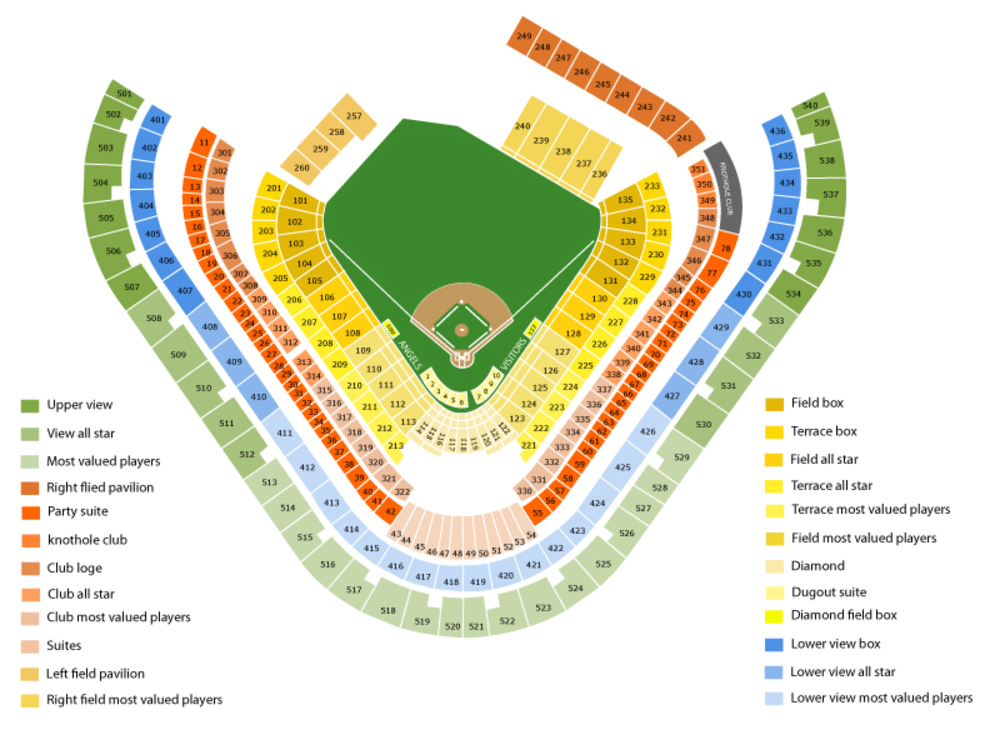 Houston Astros at Los Angeles Angels Venue Map