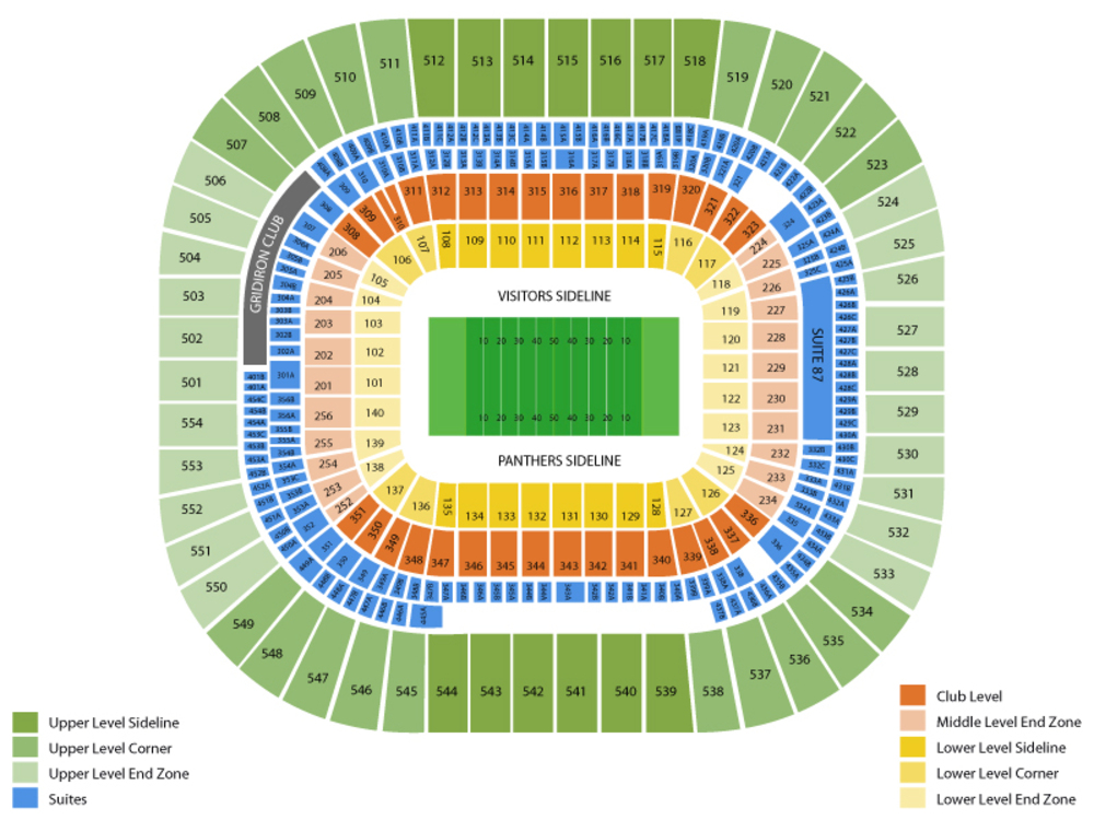 Bank of America Stadium seating map and tickets