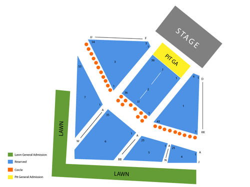 Raleigh Amphitheatre and Festival Site Seating Chart