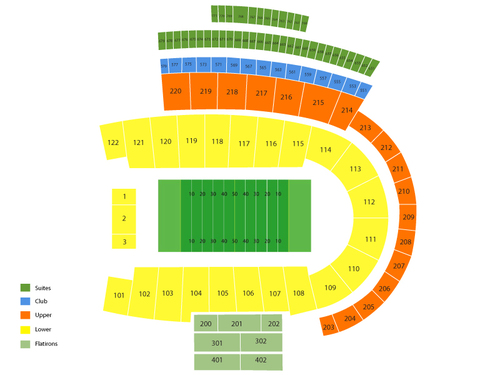 Central Arkansas Bears at Colorado Buffaloes Football Venue Map
