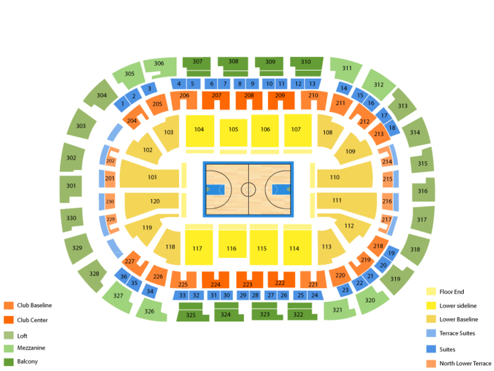 Los Angeles Clippers at Oklahoma City Thunder Venue Map
