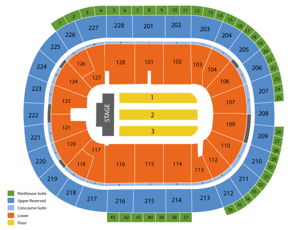 Seating Chart for End Stage Seating Chart at HP Pavilion