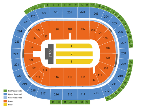 HP Pavilion Seating Chart