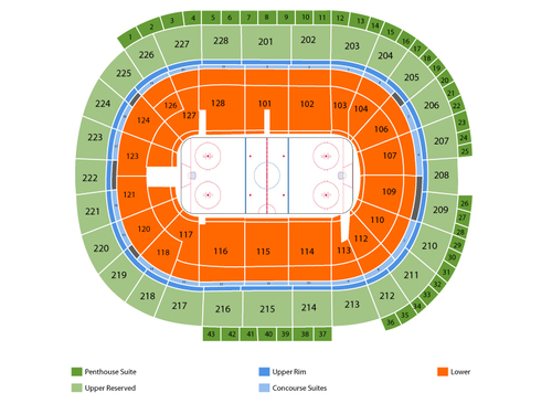 Minnesota Wild at San Jose Sharks Venue Map