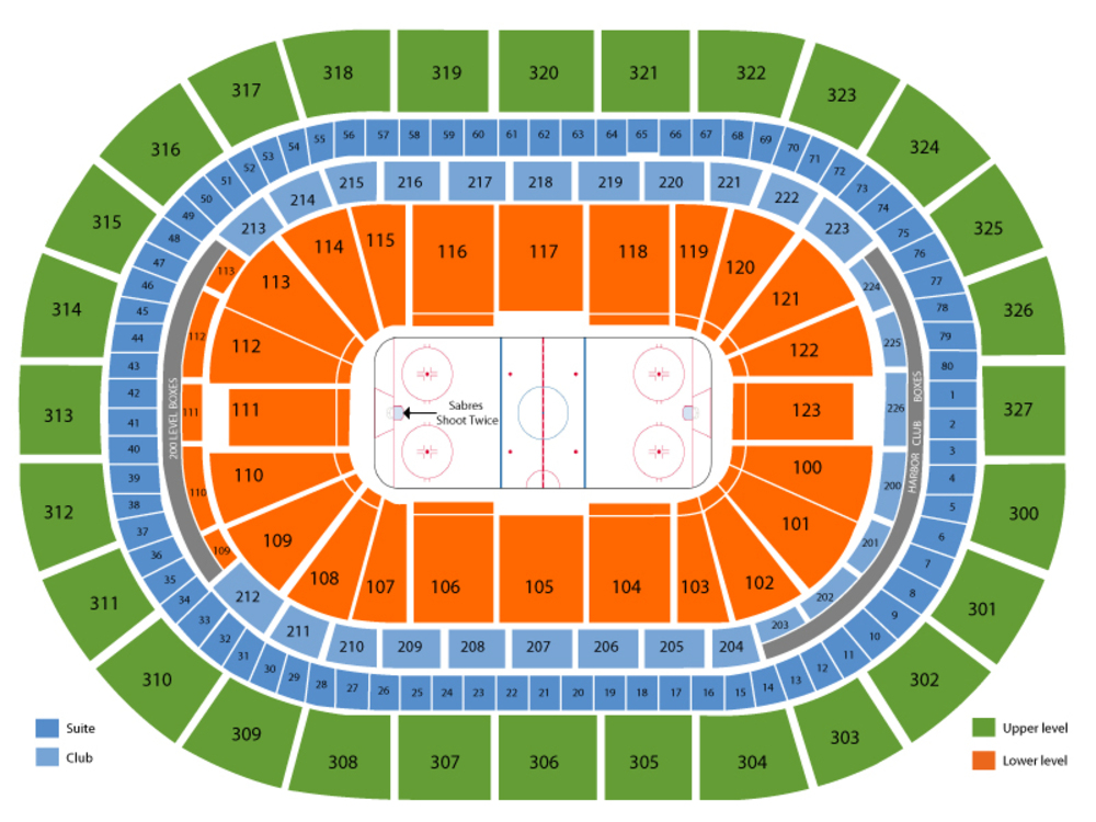 Philadelphia Flyers at Buffalo Sabres Venue Map