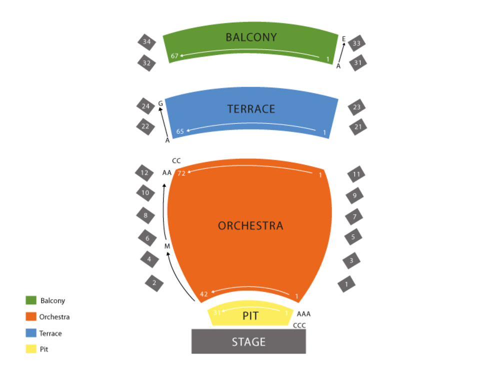INB Performing Arts Center seating map and tickets