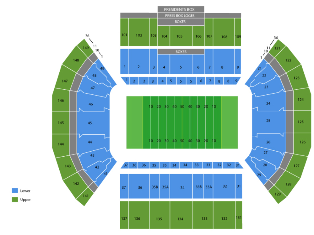 Seating Chart for Football Seating Chart at LaVell Edwards Stadium