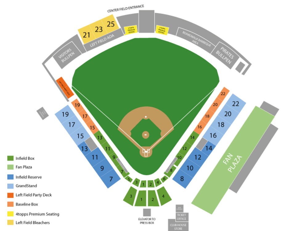 Spring Training: Toronto Blue Jays (Split Squad) at Pittsburgh Pirates Venue Map