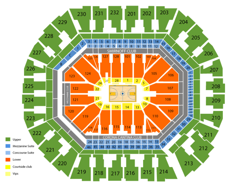 Oracle Arena seating map and tickets