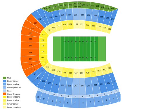 Eastern Kentucky Colonels at Louisville Cardinals Football Venue Map