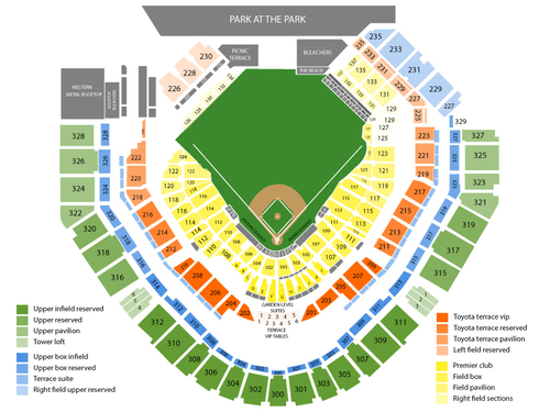 Toronto Blue Jays at San Diego Padres Venue Map