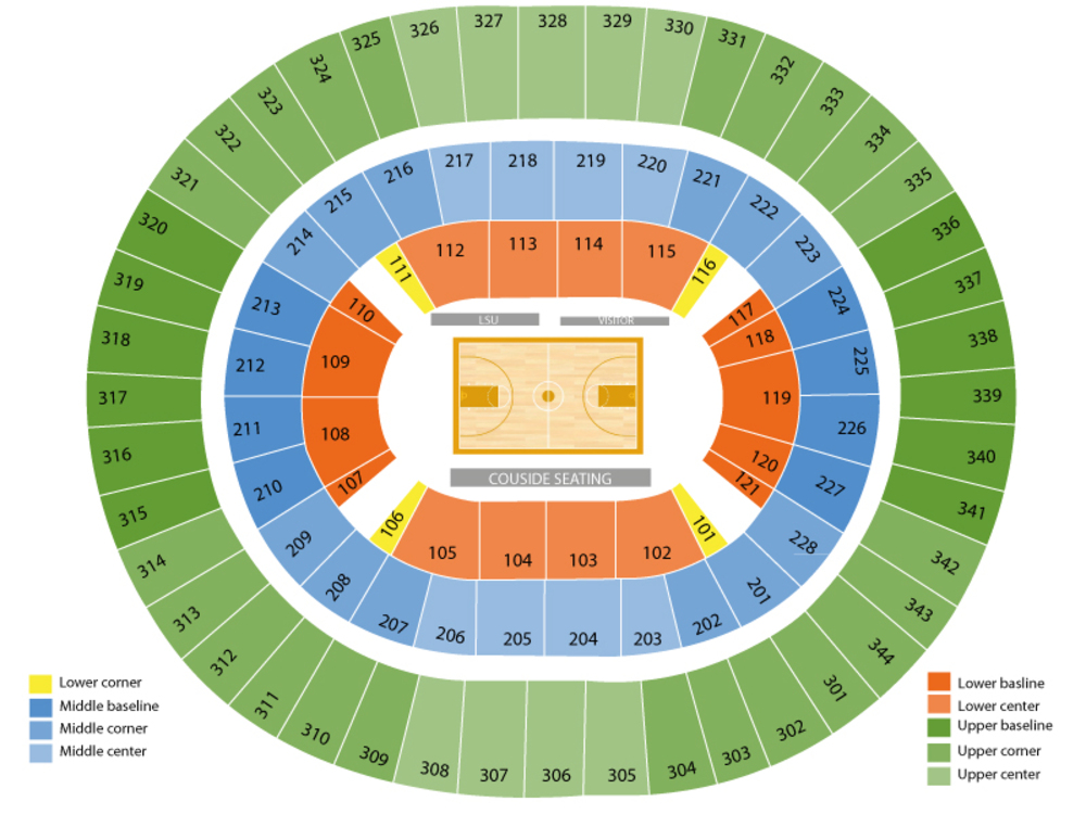 Auburn Tigers at LSU Tigers Basketball Venue Map
