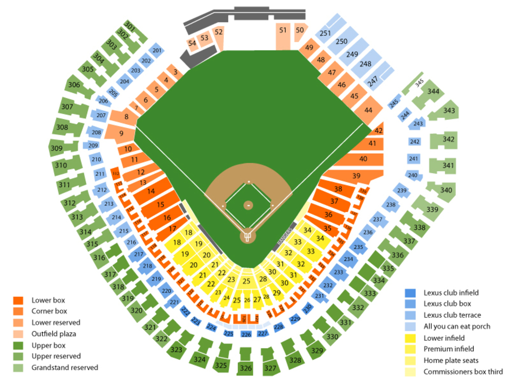 Toronto Blue Jays at Texas Rangers Venue Map