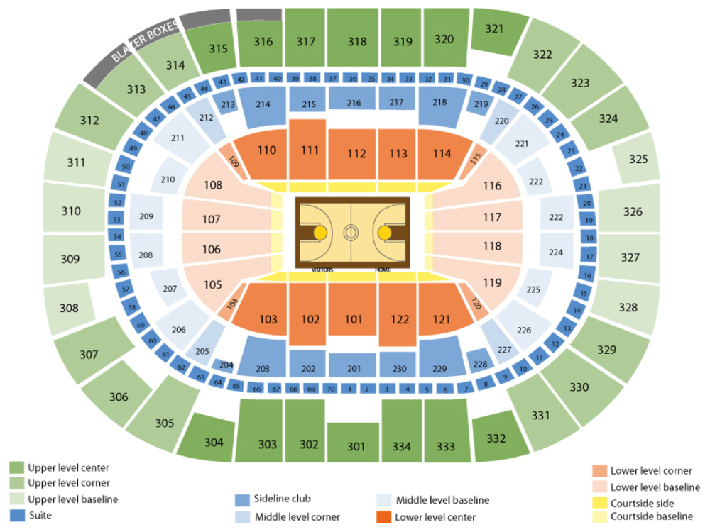 Brooklyn Nets at Portland Trail Blazers Venue Map