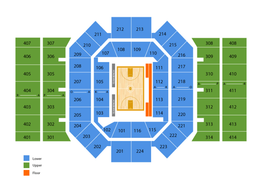 Seating Chart for Basketball Seating Chart at University of Dayton Arena