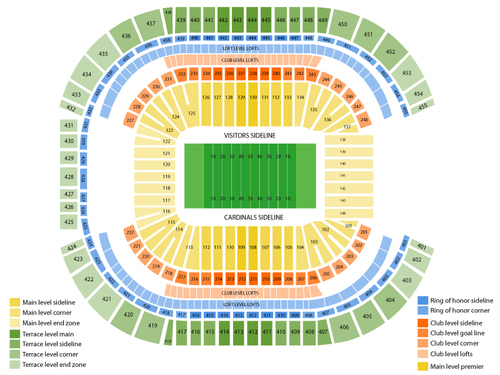Arizona Cardinals Season Tickets Venue Map
