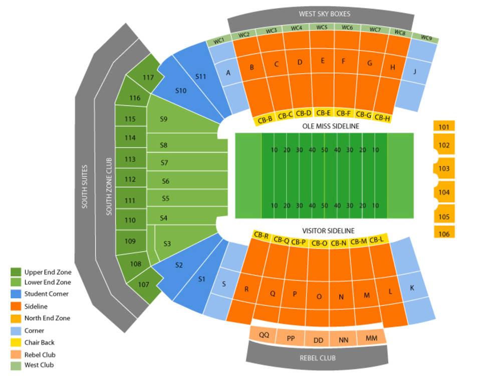 Seating Chart for Football Seating Chart at Vaught Hemingway Stadium