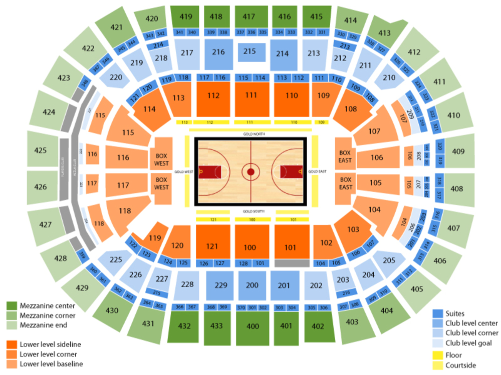 Indiana Pacers at Washington Wizards Venue Map
