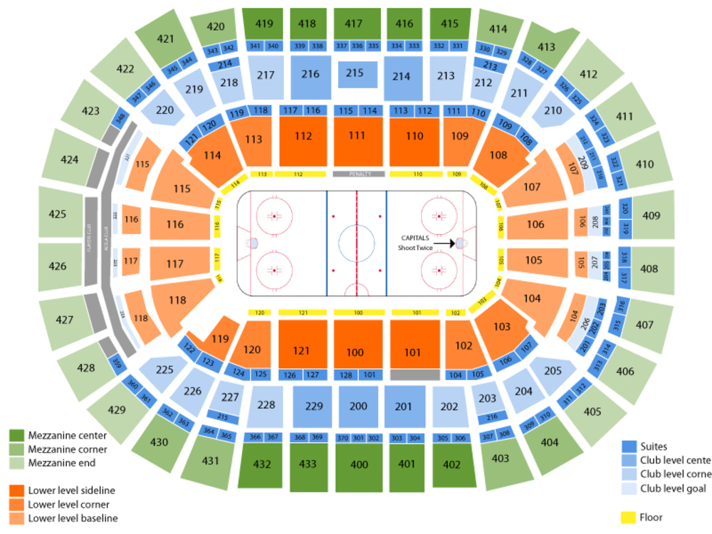 Vancouver Canucks at Washington Capitals Venue Map