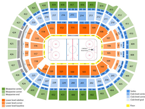 Detroit Red Wings at Washington Capitals Venue Map