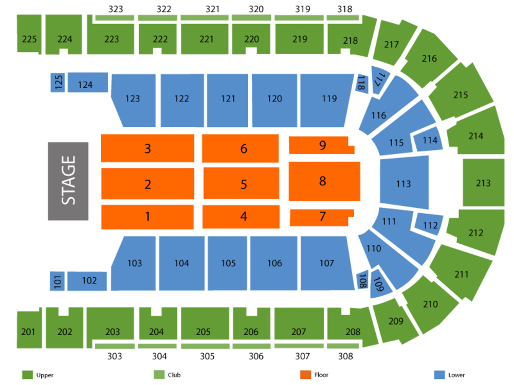 Seating Chart for End Stage Seating Chart at Boardwalk Hall