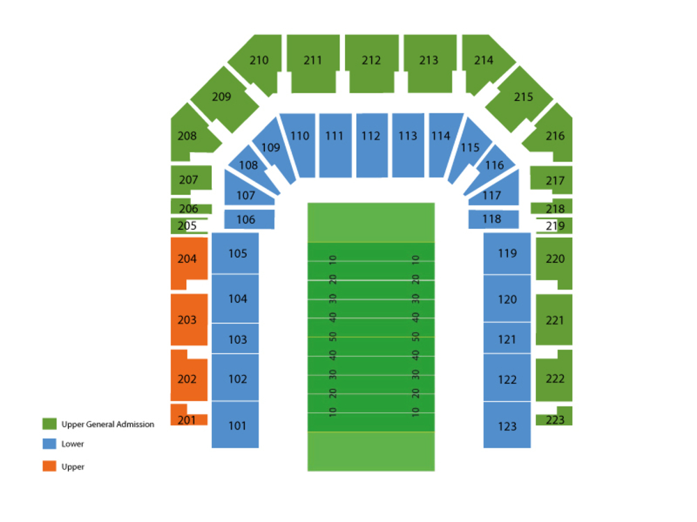 Seating Chart for Football Seating Chart at Bobcat Stadium (TX State)