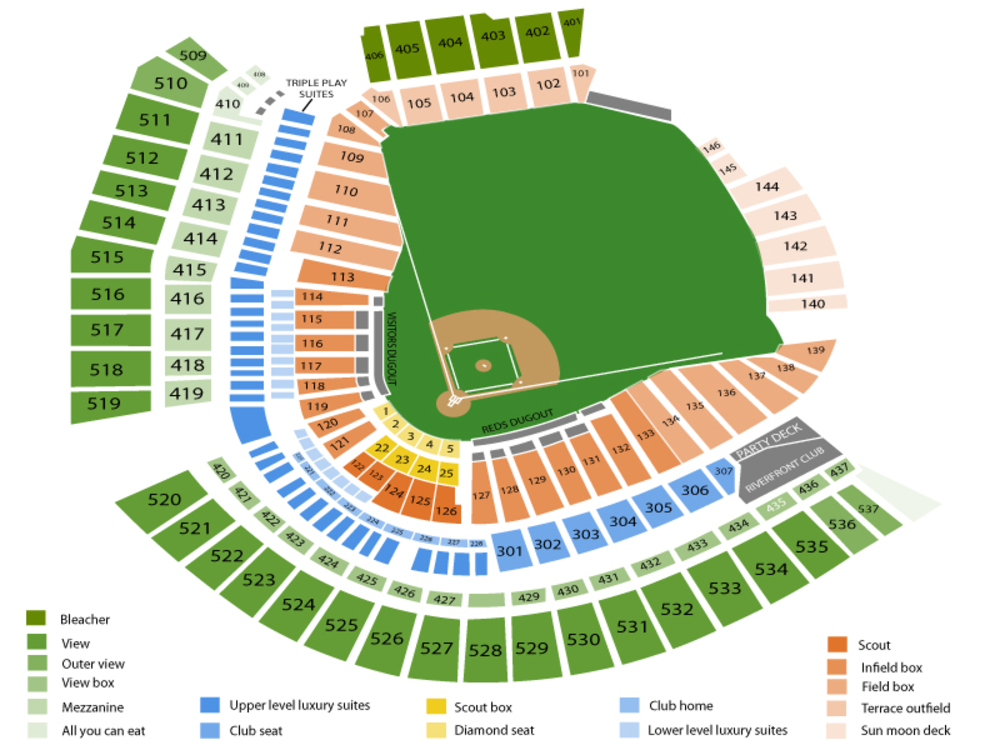 Seating Chart for Baseball Seating Chart at Great American Ball Park