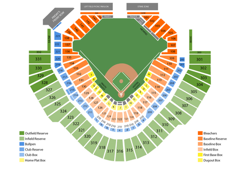 Texas Rangers at Arizona Diamondbacks Venue Map